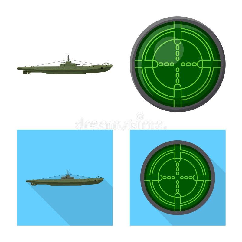Ge?soleerd voorwerp van oorlog en schippictogram Reeks van oorlog en vloot vectorpictogram voor voorraad royalty-vrije illustratie