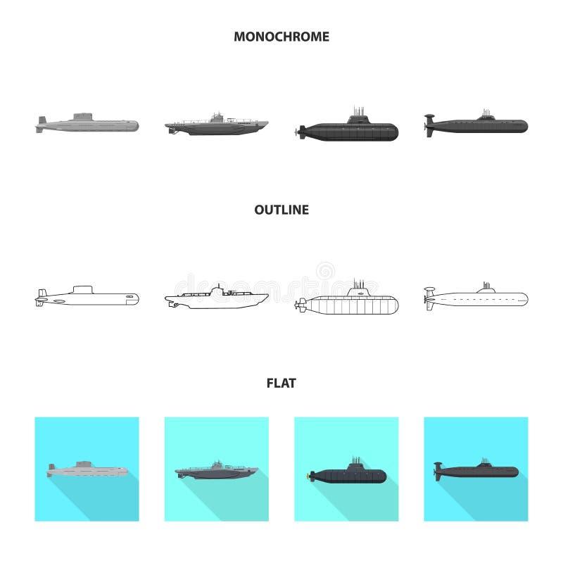 Ge?soleerd voorwerp van oorlog en schipsymbool Inzameling van oorlog en de vectorillustratie van de vlootvoorraad royalty-vrije illustratie