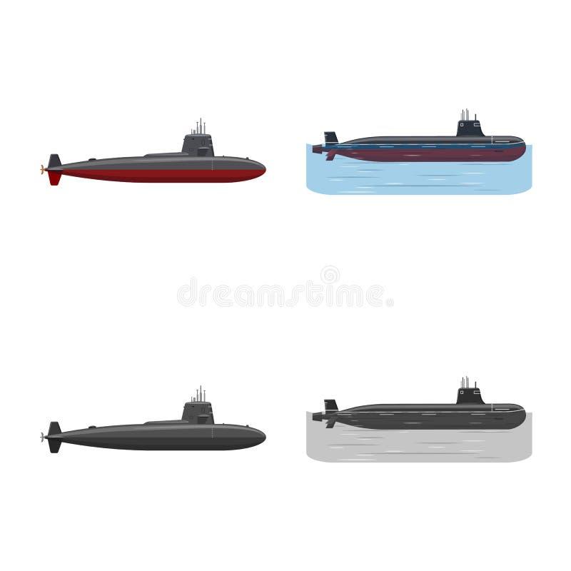 Ge?soleerd voorwerp van oorlog en schipsymbool Inzameling van oorlog en de vectorillustratie van de vlootvoorraad stock illustratie