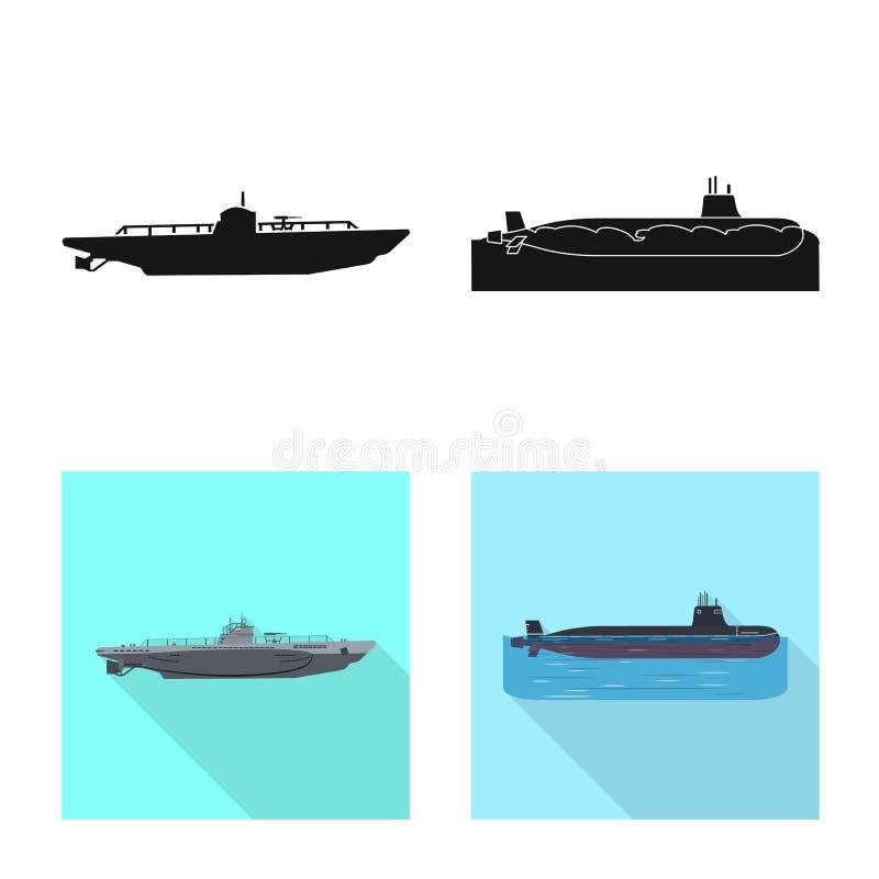 Ge?soleerd voorwerp van oorlog en schipsymbool Inzameling van oorlog en het symbool van de vlootvoorraad voor Web royalty-vrije illustratie