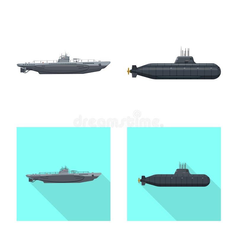 Ge?soleerd voorwerp van oorlog en schipsymbool Inzameling van oorlog en vloot vectorpictogram voor voorraad vector illustratie