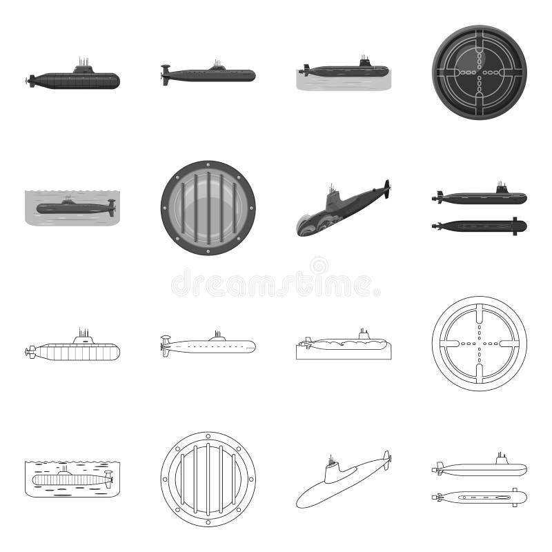 Ge?soleerd voorwerp van oorlog en schipsymbool Reeks van oorlog en het symbool van de vlootvoorraad voor Web stock illustratie