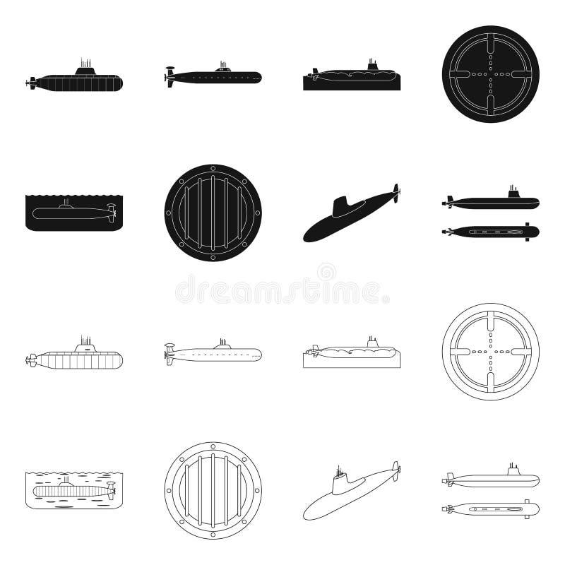 Ge?soleerd voorwerp van oorlog en schipsymbool Reeks van oorlog en het symbool van de vlootvoorraad voor Web royalty-vrije illustratie