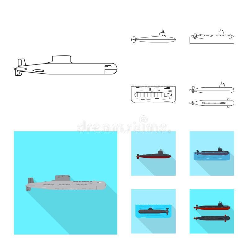 Ge?soleerd voorwerp van oorlog en schipsymbool Reeks van oorlog en vloot vectorpictogram voor voorraad stock illustratie