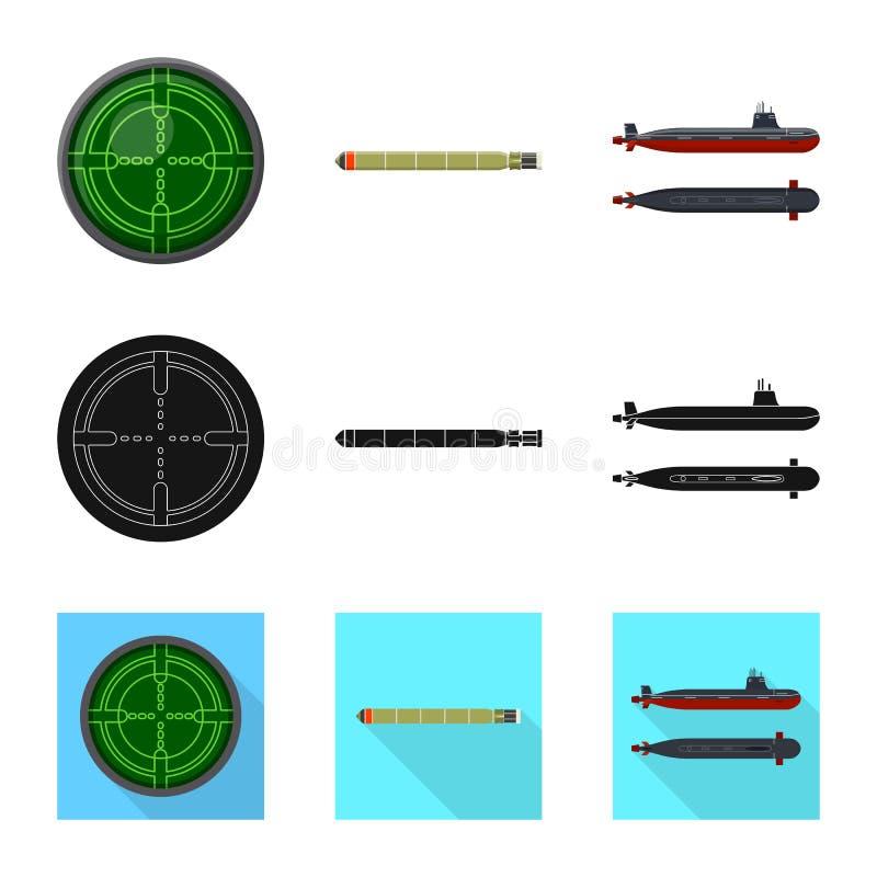 Ge?soleerd voorwerp van oorlog en schipteken Inzameling van oorlog en de vectorillustratie van de vlootvoorraad royalty-vrije illustratie