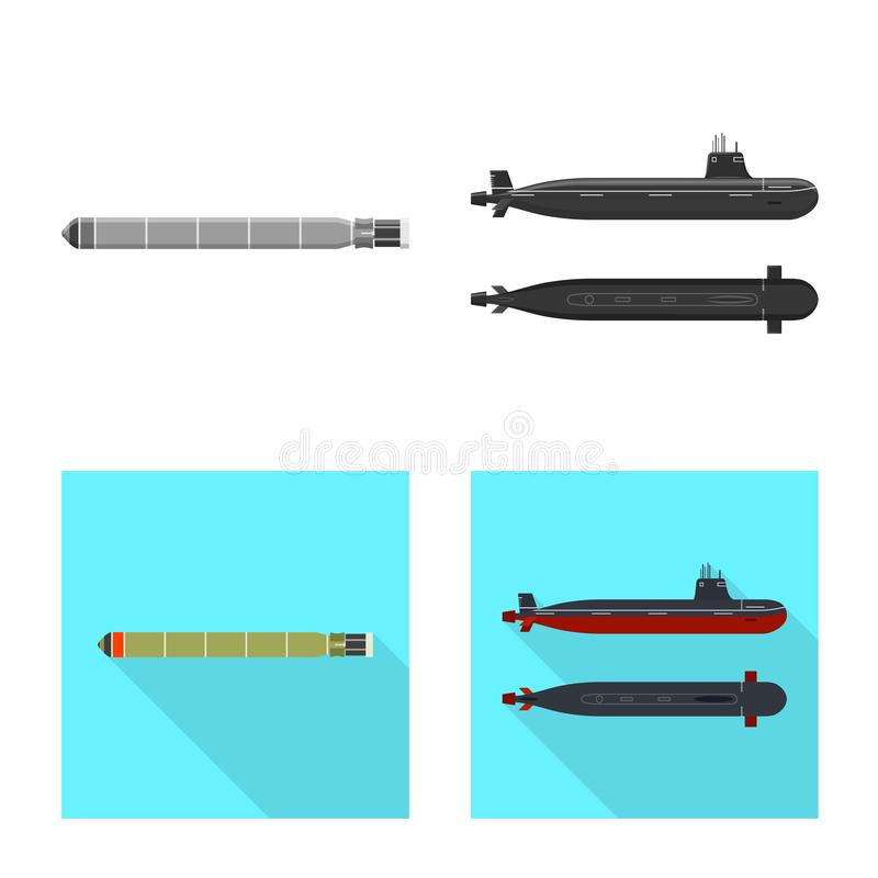 Ge?soleerd voorwerp van oorlog en schipteken Inzameling van oorlog en het symbool van de vlootvoorraad voor Web vector illustratie