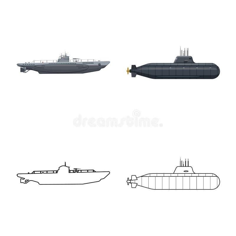 Ge?soleerd voorwerp van oorlog en schipteken Inzameling van oorlog en vloot vectorpictogram voor voorraad vector illustratie