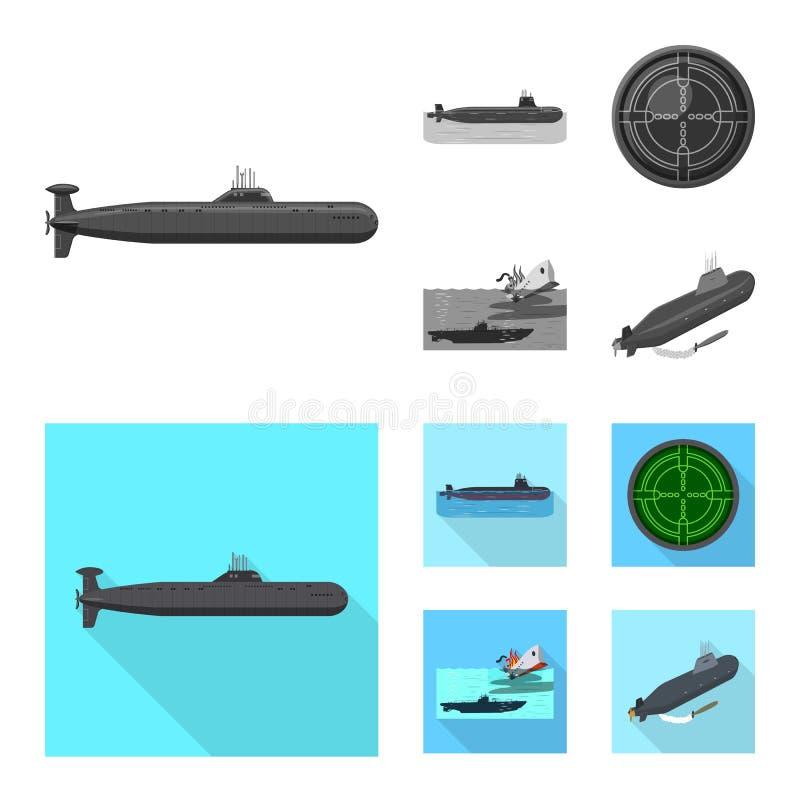 Ge?soleerd voorwerp van oorlog en schipteken Reeks van oorlog en de vectorillustratie van de vlootvoorraad vector illustratie