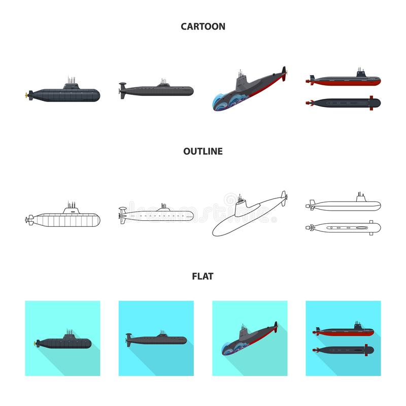 Ge?soleerd voorwerp van oorlog en schipteken Reeks van oorlog en vloot vectorpictogram voor voorraad royalty-vrije illustratie
