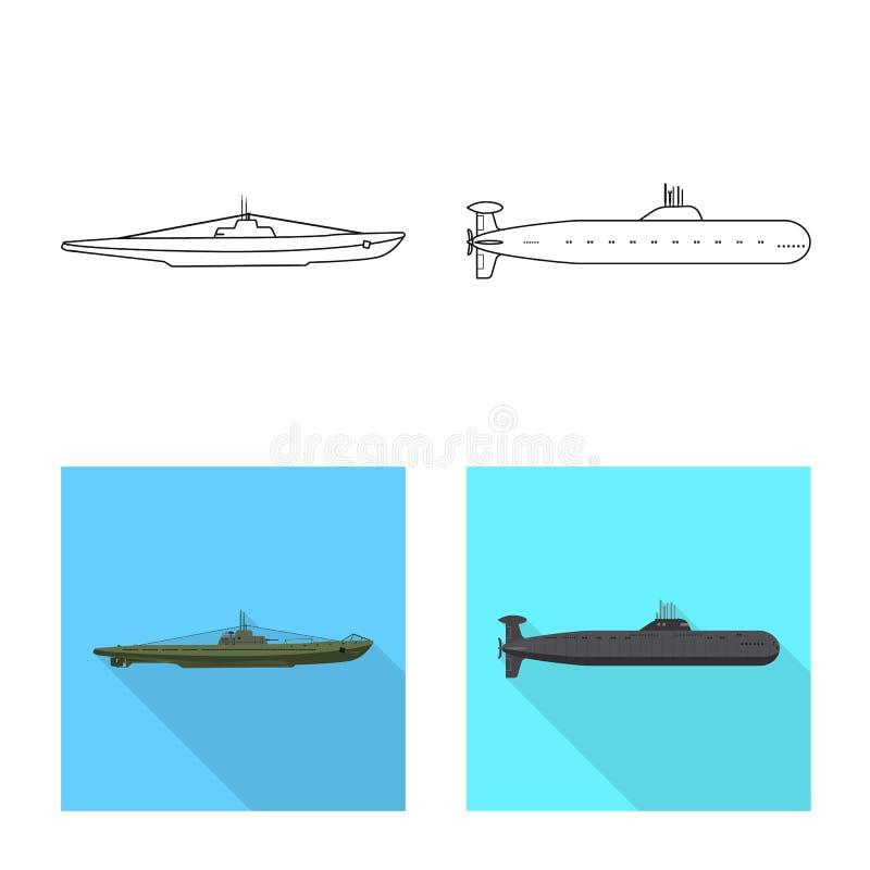 Ge?soleerd voorwerp van oorlog en schipteken Reeks van oorlog en vloot vectorpictogram voor voorraad stock illustratie
