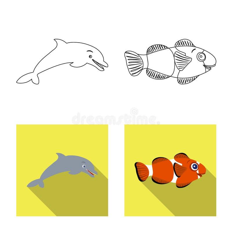 Ge?soleerd voorwerp van overzees en dierlijk teken Inzameling van overzees en marien vectorpictogram voor voorraad stock illustratie