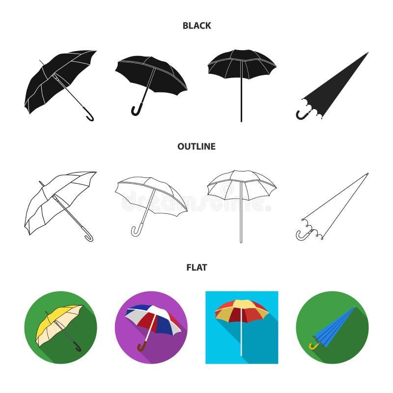 Ge?soleerd voorwerp van paraplu en wolkenembleem Inzameling van paraplu en regenvoorraadsymbool voor Web vector illustratie