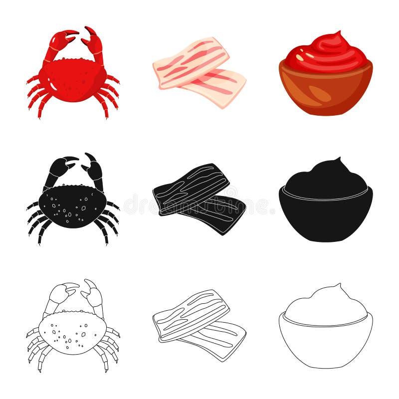 Ge?soleerd voorwerp van smaak en productpictogram Inzameling van smaak en kokende voorraad vectorillustratie stock illustratie
