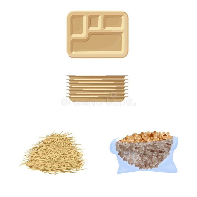 Ge?soleerd voorwerp van suikerriet en rietembleem Inzameling van suikerriet en gebieds vectorpictogram voor voorraad stock illustratie