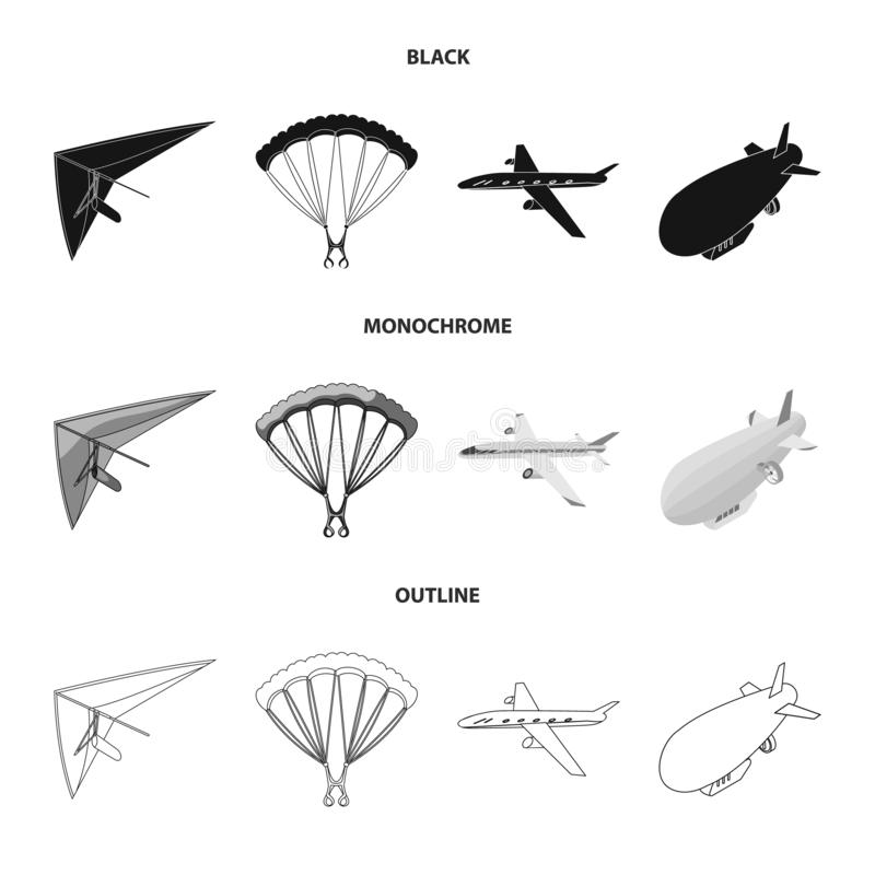 Ge?soleerd voorwerp van vervoer en objecten embleem Reeks van vervoer en glijdend vectorpictogram voor voorraad royalty-vrije illustratie