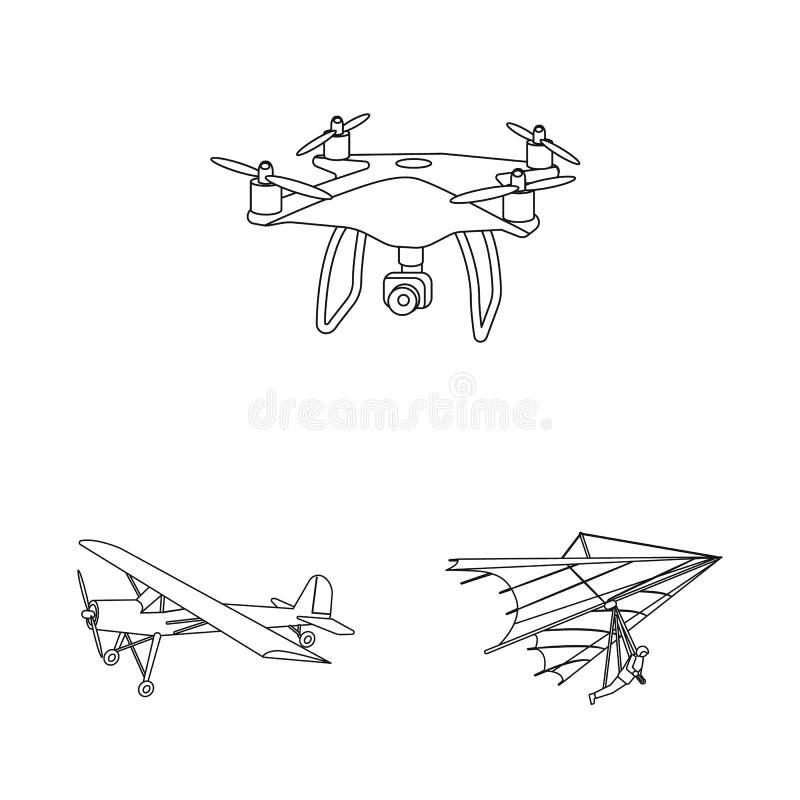 Ge?soleerd voorwerp van vliegtuig en vervoerembleem Reeks van vliegtuig en hemel vectorpictogram voor voorraad vector illustratie