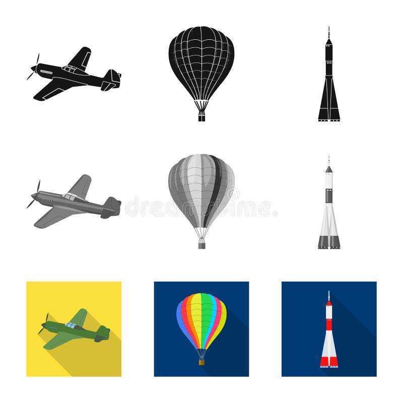 Ge?soleerd voorwerp van vliegtuig en vervoersymbool Reeks van vliegtuig en de vectorillustratie van de hemelvoorraad stock illustratie