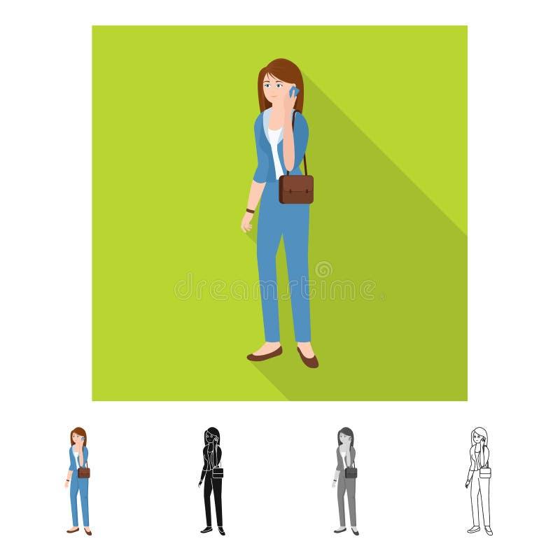 Ge?soleerd voorwerp van vrouwen en bedrijfsembleem Reeks van vrouw en businessperson vectorpictogram voor voorraad vector illustratie