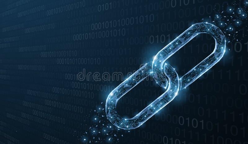 Ge?soleerde Abstracte Vectorketting Het element van de Wireframeketting op blauwe achtergrond Verbindingsbescherming, blockchain  vector illustratie