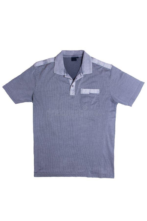 Ge?soleerde denimoverhemden Close-up van een modieus gestreept jeansoverhemd voor mensen die op een witte achtergrond worden geïs stock afbeeldingen