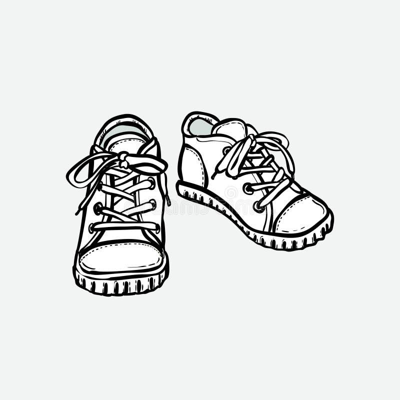 Ge?soleerde het paar van tennisschoenenschoenen Hand getrokken vectorillustratie zwart-witte schoenen De sportlaarzen overhandige royalty-vrije illustratie