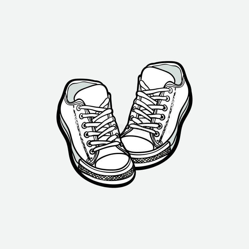 Ge?soleerde het paar van tennisschoenenschoenen Hand getrokken vectorillustratie zwart-witte schoenen De sportlaarzen overhandige stock illustratie