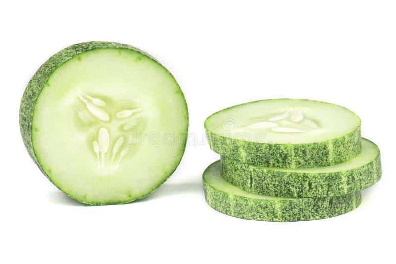 Ge?soleerde komkommerplakken royalty-vrije stock foto