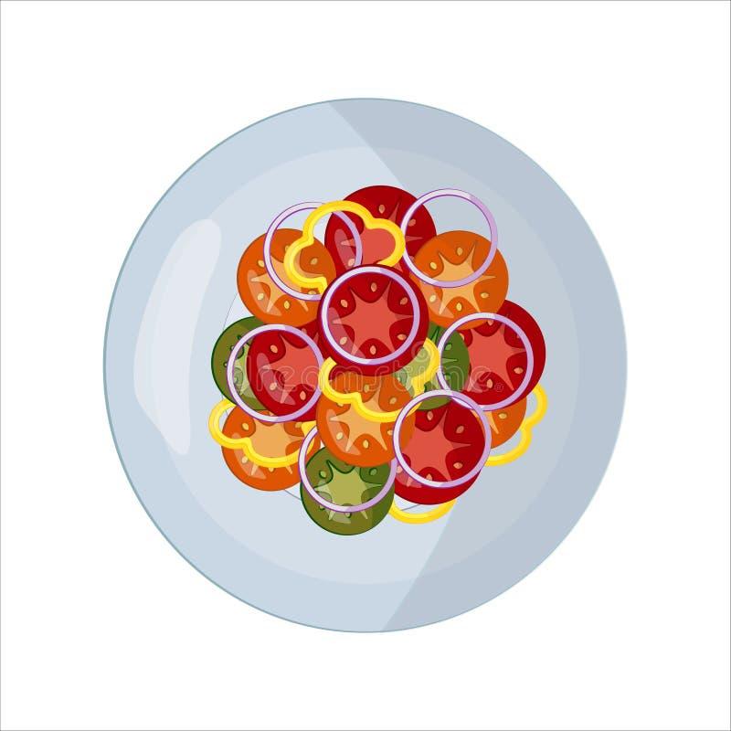 Ge?soleerde vectorvoedselbeelden Plantaardige plakken op een witte plaat Rode tomat, groene komkommer, gele peper, witte ui stock illustratie