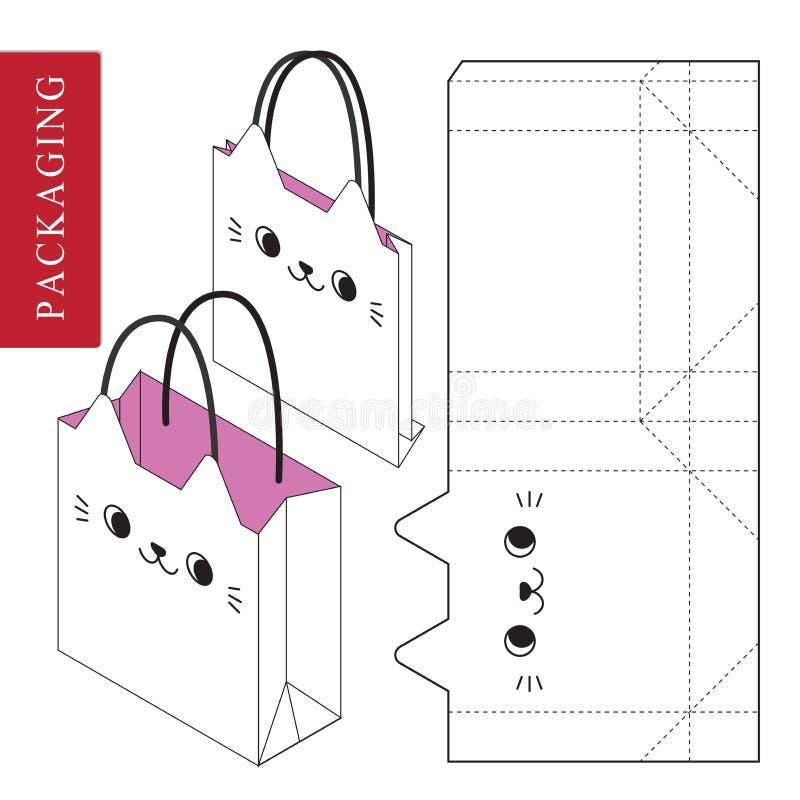 Ge?soleerde Witte Kleinhandelsspot omhoog Zak verpakkend malplaatje voor het dragen stock illustratie