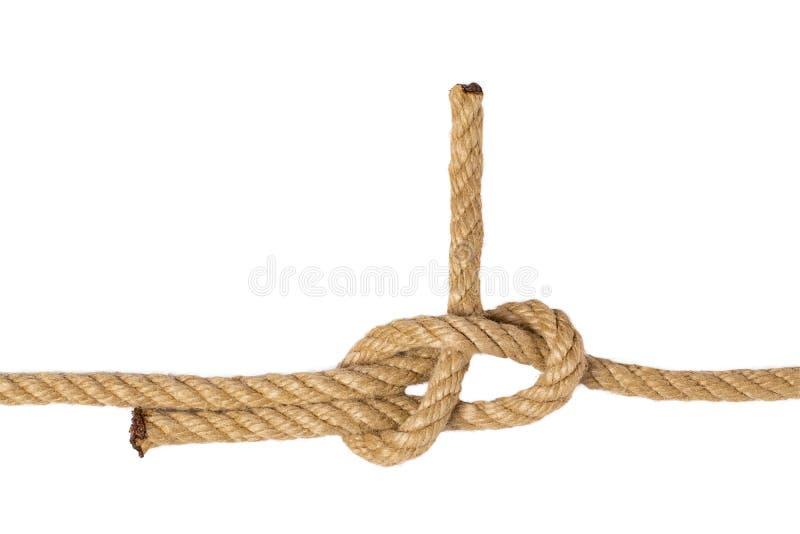 Ge?soleerdeb kabel Macro van cijferknoop of knoop van twee bruine kabels die op een witte achtergrond wordt ge?soleerd Marine en  stock foto's