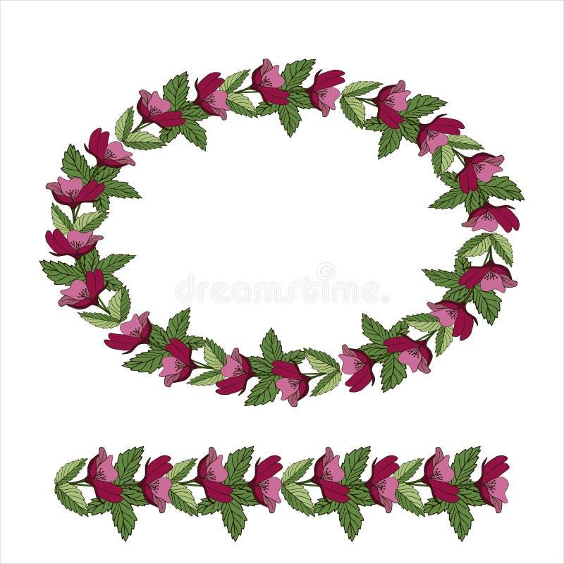 Ge?soleerdee vectorillustratie Abstract ovaal bloemendecor of kader, een kroon van bloemen Uitstekende stijl royalty-vrije illustratie