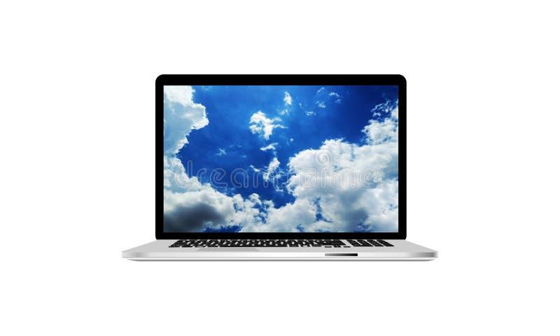 Ge?soleerder computerlaptop Technologiemededeling stock illustratie