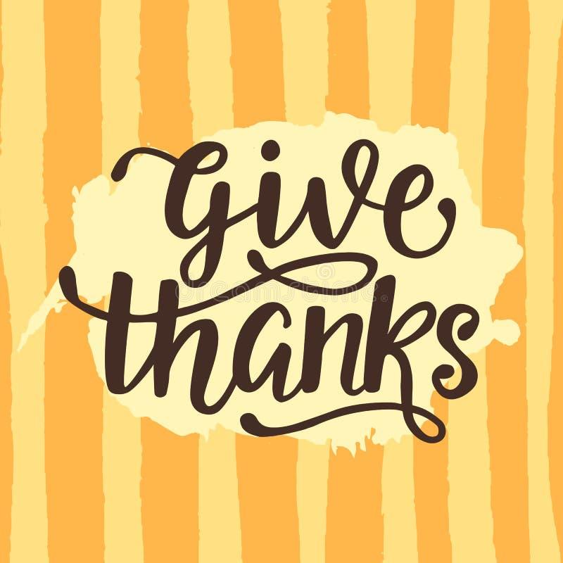 Ge tack Tacksägelsedagaffisch Skriftlig bokstäver för hand stock illustrationer