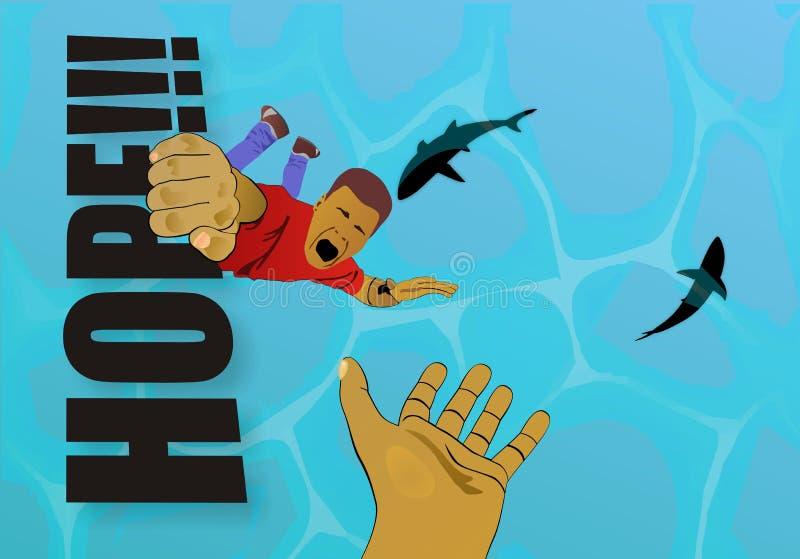 Ge upp, även om det är hopplöst - aldrig! stock illustrationer