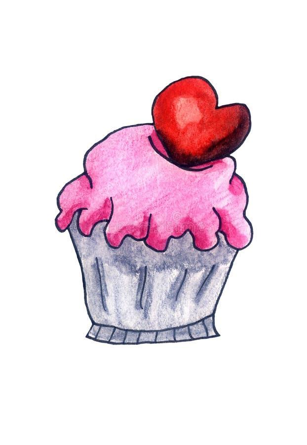 Geada bonito de Valentine Heart Cupcake With Strawberry ilustração stock