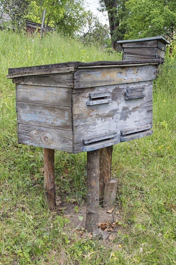 Gealterte hölzerne Bienenstöcke stockfoto