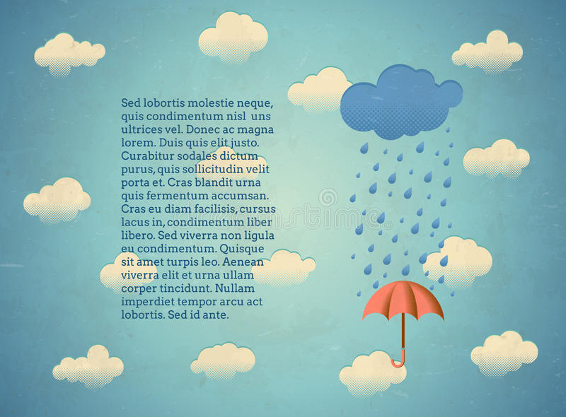 Gealterte Karte mit regnerischer Wolke und Regenschirm lizenzfreie abbildung