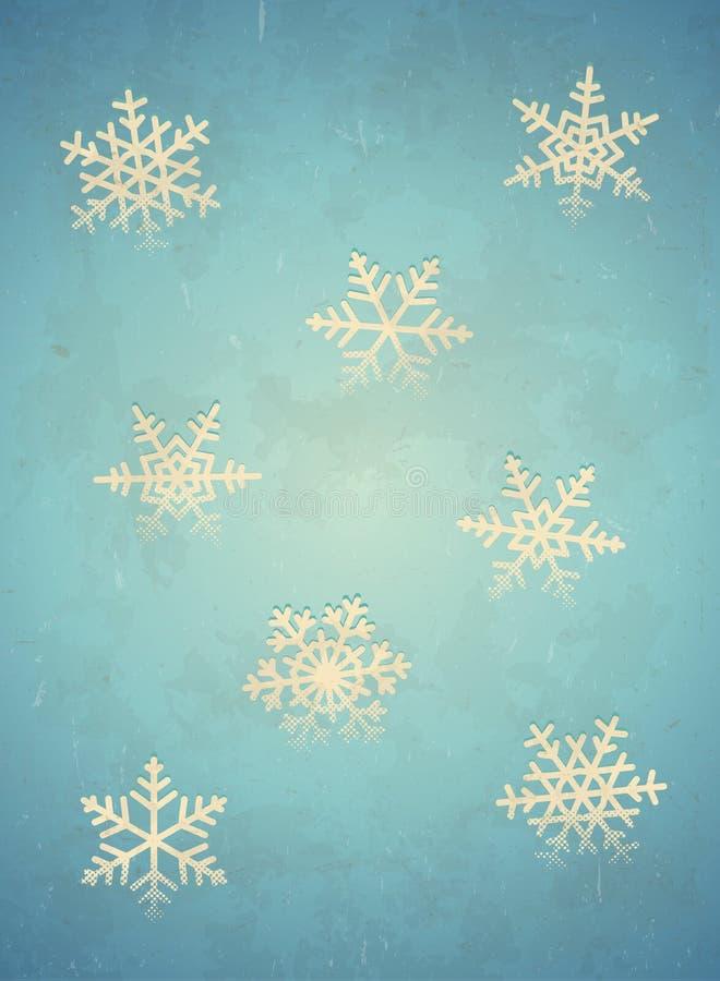 Gealterte Karte mit Schneeflocke stock abbildung