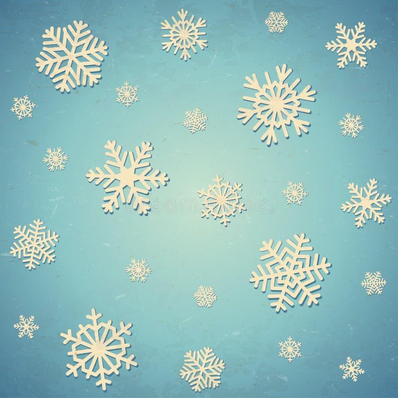 Gealterte Karte mit Schneeflocken vektor abbildung