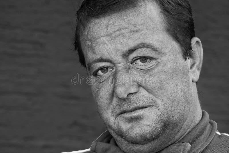 Gealterte Mannporträt-Gesichtsdetails nah herauf Ansicht stockfoto