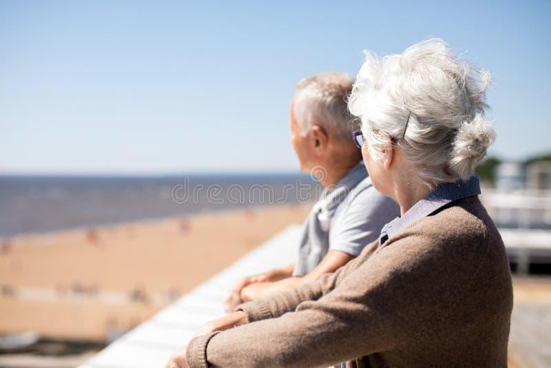 Gealterte Paare am Erholungsort lizenzfreies stockbild