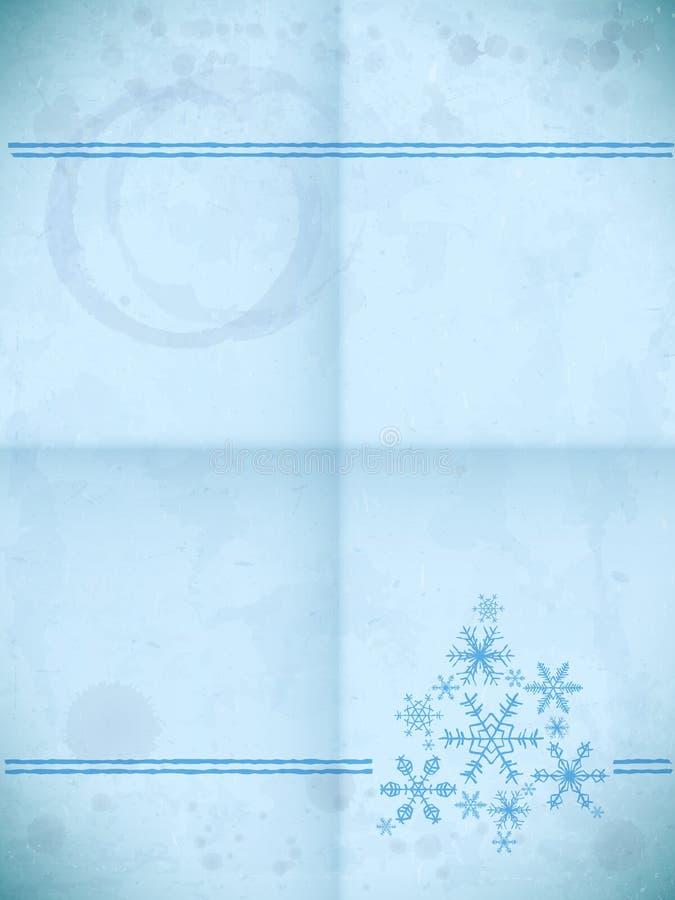 Gealterte Papierkarte mit Schneeflocken vektor abbildung