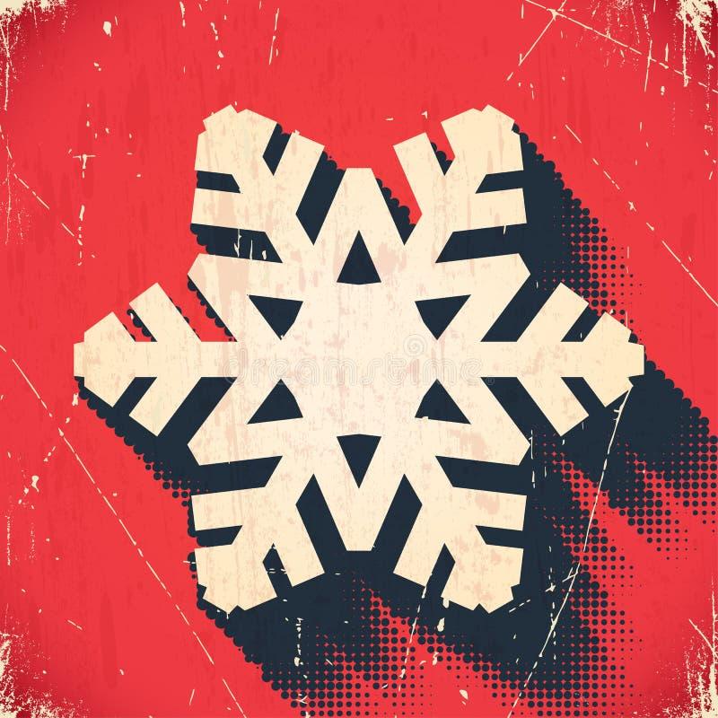 Gealterte Weihnachtsschneeflockenkarte mit Halbtonschatten stock abbildung