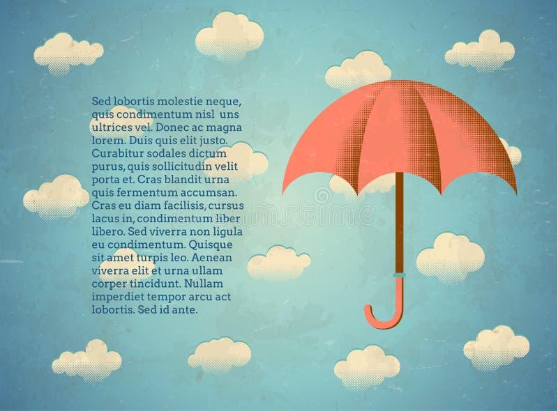 Gealterte Weinlesekarte mit Regenschirm stock abbildung