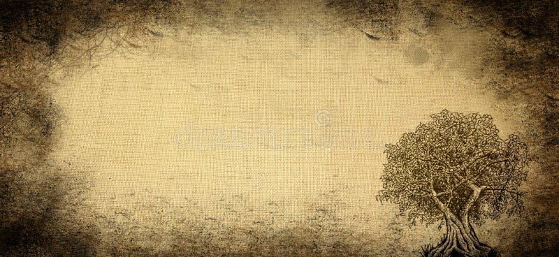 Gealterter Hintergrund mit Baum stockbild