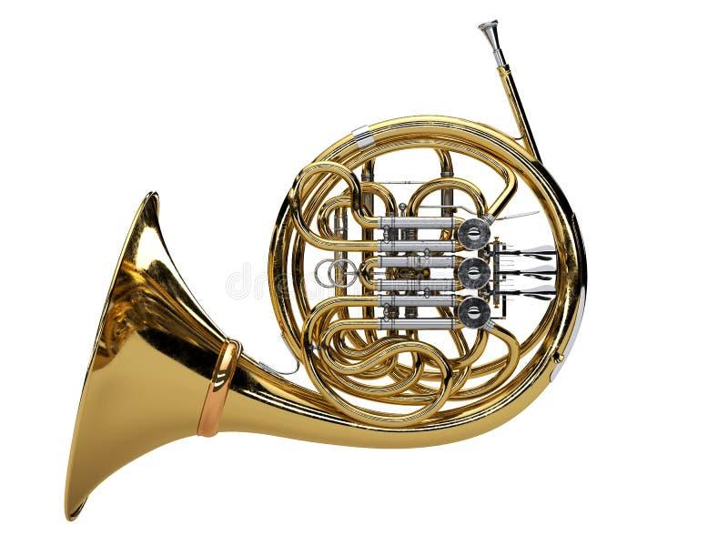 Gealtertes französisches Horn lokalisiert auf weißem Hintergrund stockbild