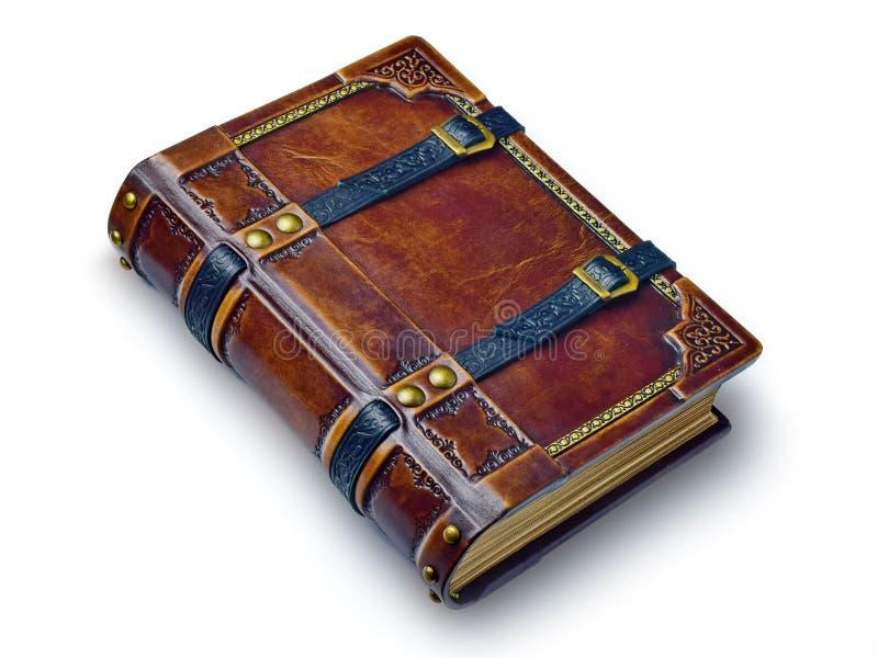 Gealtertes ledernes Buch mit Bügeln und vergoldeten Papierkanten - auf dem Tisch legend stockfotos