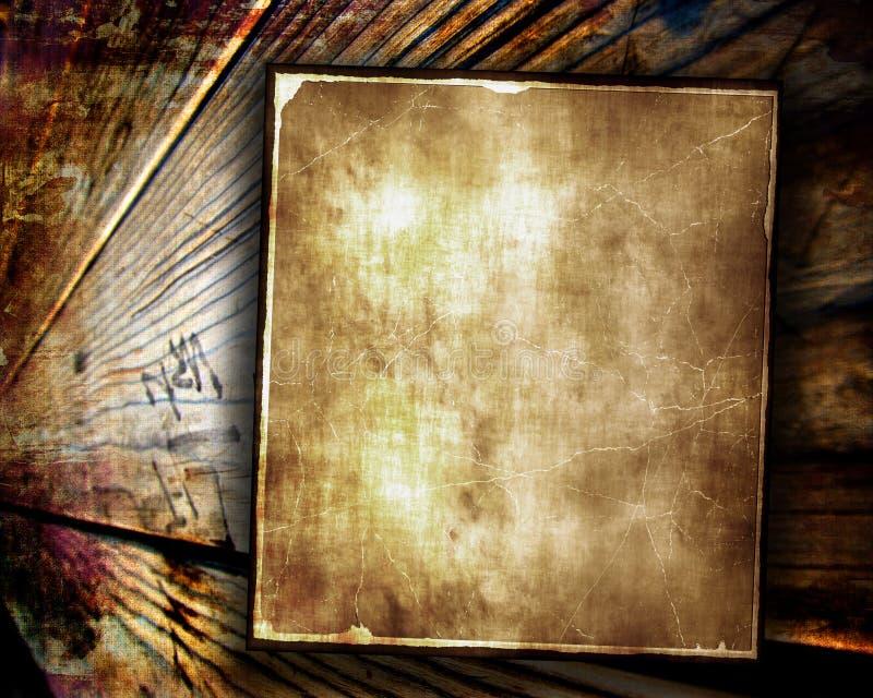 Gealtertes Papier auf hölzernem Hintergrund stock abbildung