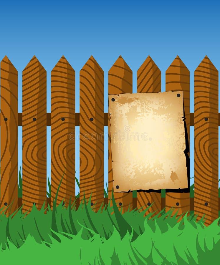 Gealtertes Plakat auf dem Zaun stock abbildung