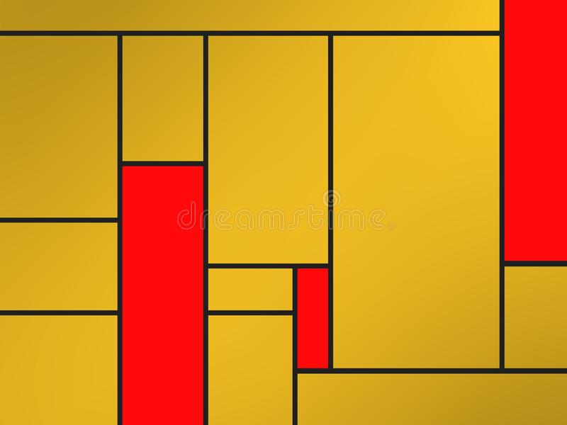 Geametric composition of tribute to Mondrian with fire colors. Compositions of geometric pattern with different colors and easy to use for different concepts royalty free illustration